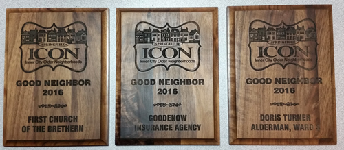 2016 Springfield ICON Good Neighbor Award Plaques for Goodenow Insurance Agency, Inc., First Church of the Brethern, and Doris Turner, Ward 3 Alderman, City of Springfield.