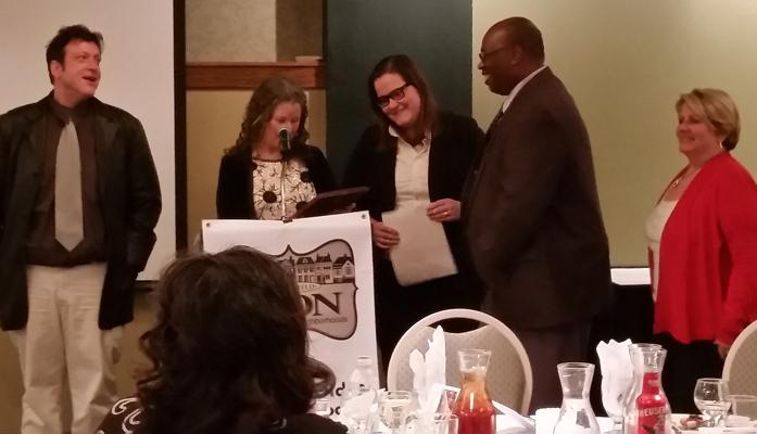 ICON Holiday Party 2017 - Good Neighbor Award for Public Service - recipient Springfield Housing Inspectors: Darryl Harris, Division Manager; Michael Carr, Suzanne Duncan. (Also Michael Gant, Barb Jones, Matt Morrell, Tiffani Selinger, Paula Zink)