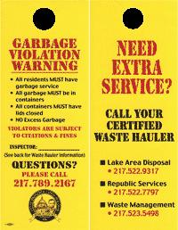 Springfield Public Works garbage door hanger